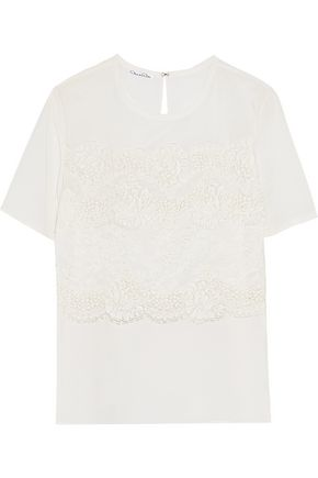 OSCAR DE LA RENTA Lace-paneled silk-crepe top