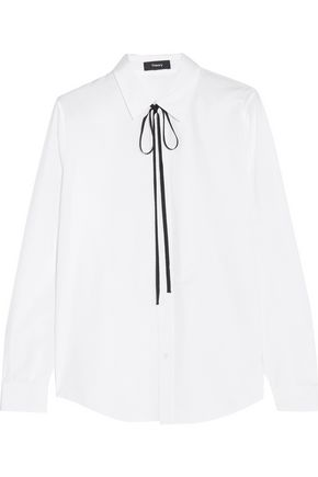 THEORY Anesha pussy-bow cotton shirt