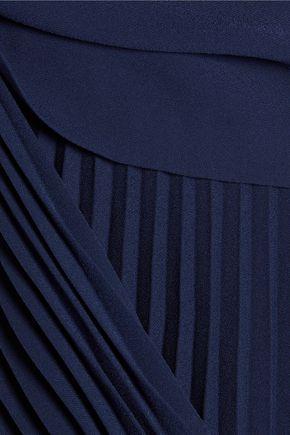 THEORY Anastaza layered plissé crepe top