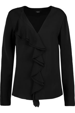 THEORY Jastrid ruffled silk crepe de chine blouse