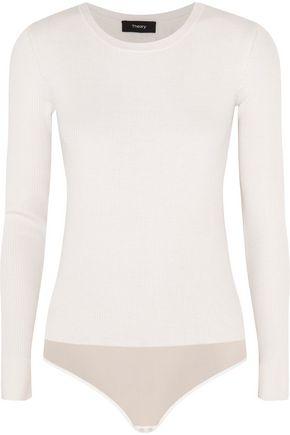 THEORY Bollyn mesh-trimmed wool-blend bodysuit
