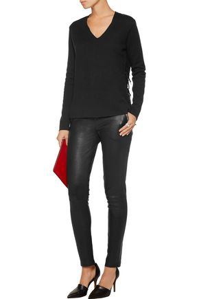 MAJESTIC Leather-trimmed stretch-wool top