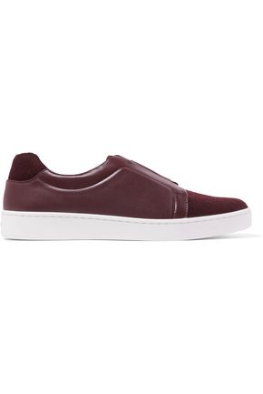 DKNY Bobbi felt and leather slip-on sneakers