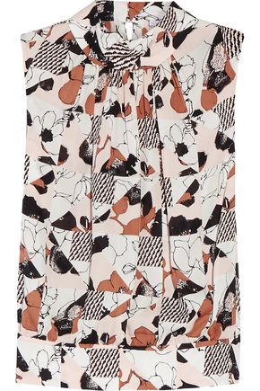 OSCAR DE LA RENTA Printed pleated silk-chiffon top