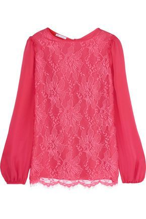 OSCAR DE LA RENTA Lace and silk-chiffon top