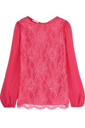 OSCAR DE LA RENTA Lace and silk-chiffon top