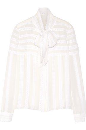 OSCAR DE LA RENTA Pussy-bow lace-appliquéd silk-chiffon blouse