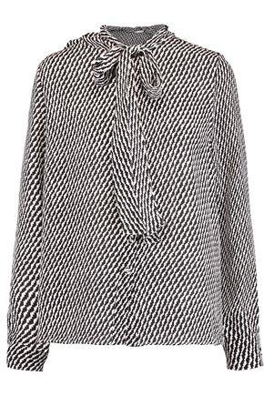 OSCAR DE LA RENTA Pussy-bow printed silk blouse