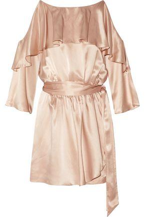 RACHEL ZOE Woman Catrina Cold-Shoulder Ruffled Silk-Satin Playsuit Blush