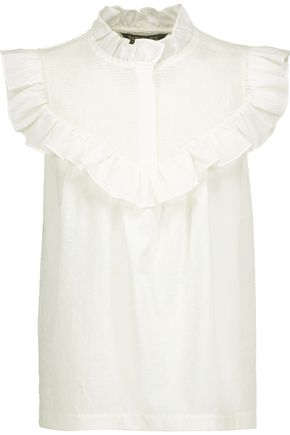 RACHEL ZOE Hera ruffled smocked Swiss-dot cotton top
