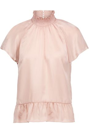 RACHEL ZOE Harbor smocked silk-satin top