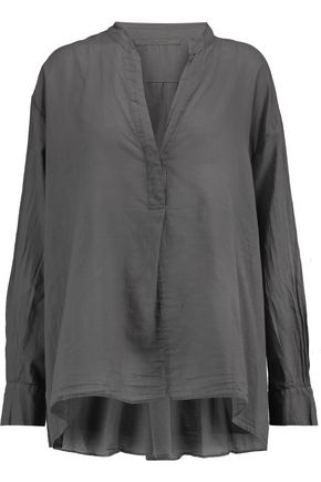ENZA COSTA Henley cotton-voile blouse