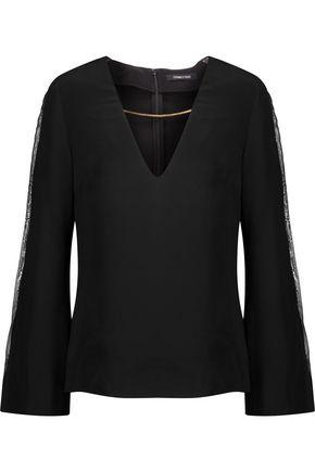 CUSHNIE ET OCHS Chain-embellished organza-trimmed silk-satin blouse
