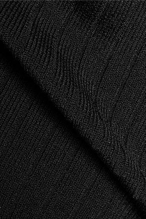 CUSHNIE ET OCHS Off-the-shoulder lace-up ribbed-knit bodysuit