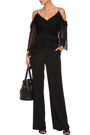 RACHEL ZOE Renee cold-shoulder asymmetric crinkled silk-chiffon top