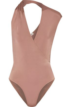 CUSHNIE ET OCHS Cutout wrap-effect metallic stretch satin-jersey bodysuit