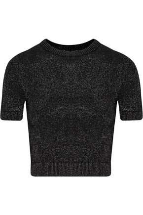CUSHNIE ET OCHS Cropped metallic stretch-knit top