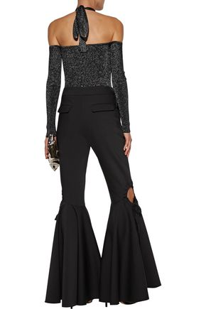 CUSHNIE ET OCHS Cold-shoulder metallic stretch-knit halterneck bodysuit