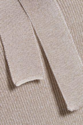 CUSHNIE ET OCHS Cold-shoulder metallic stretch-knit halterneck bodysuit