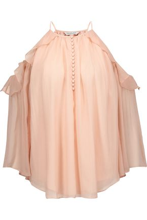 RACHEL ZOE Aurora cold-shoulder ruffled silk-georgette top