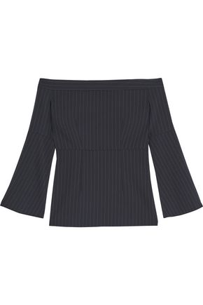 IRIS AND INK Cindy off-the-shoulder pinstriped poplin top