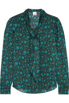 IRIS & INK Jennifer pussy-bow printed silk blouse