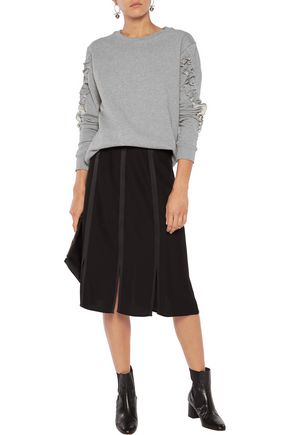 IRIS AND INK Pat ruffle-trimmed cotton-jersey sweatshirt