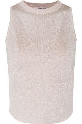 CUSHNIE ET OCHS Cropped metallic stretch-knit top