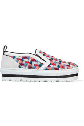 MSGM Bouclé slip-on sneakers