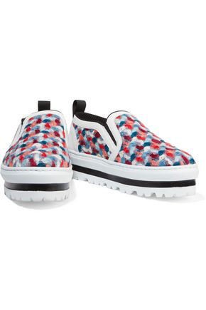 MSGM Bouclé slip-on sneakers