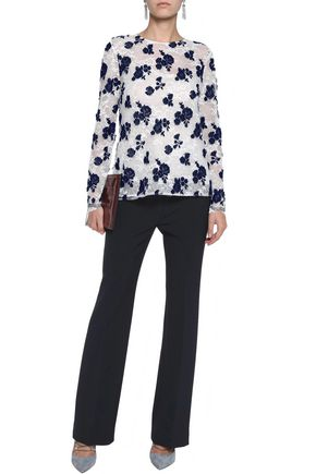 OSCAR DE LA RENTA Embroidered cotton-blend mesh blouse