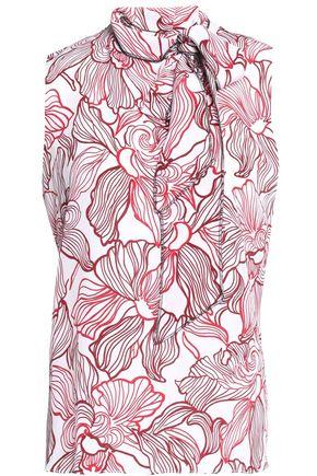 OSCAR DE LA RENTA Lily pussy-bow printed silk blouse