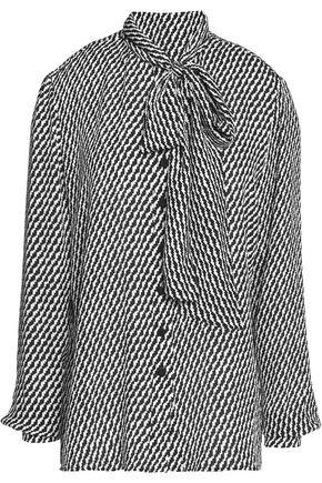 OSCAR DE LA RENTA Pussybow printed silk blouse