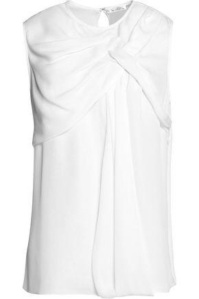 OSCAR DE LA RENTA Ruffled silk-georgette blouse