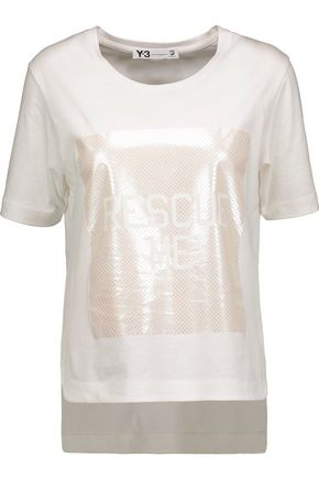 Y-3 + adidas Originals metallic appliquéd cotton-jersey T-shirt