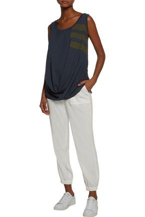 Y-3 + adidas Originals draped striped cotton-jersey top