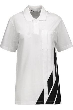 Y-3 + adidas Originals mesh-trimmed striped cotton-piqué polo shirt