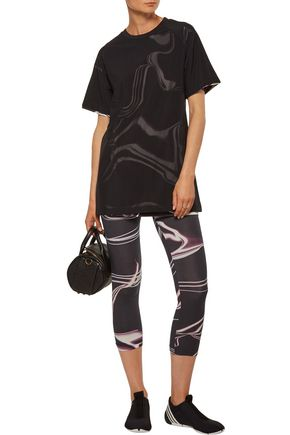 Y-3 + adidas Originals layered mesh and printed stretch-cotton jersey top
