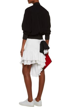 Y-3 + adidas Originals Android asymmetric ruffled stretch-cady and crepe de chine shorts