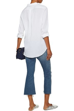 M.I.H JEANS Flight pleated crinkled cotton-gauze shirt