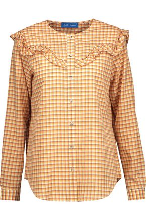 M.I.H JEANS Nikki ruffle-trimmed checked cotton-blend poplin blouse