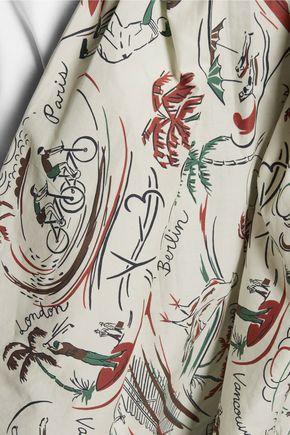 Y-3 + adidas Originals paneled cotton-jersey and printed cotton-poplin top