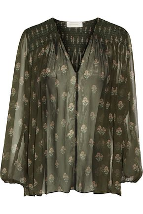 ZIMMERMANN Karmic smocked floral-print silk-georgette blouse