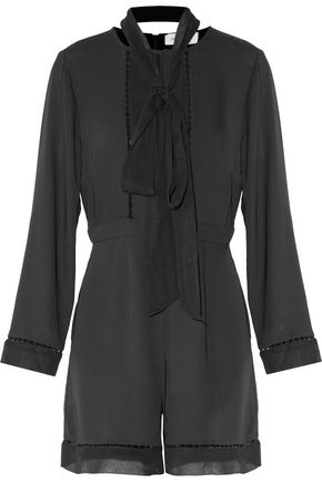 ZIMMERMANN Pussy-bow silk chiffon-paneled crepe de chine playsuit