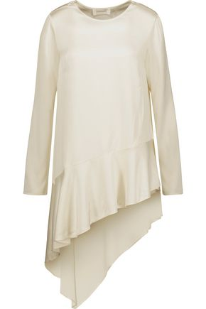 ZIMMERMANN Lavish asymmetric ruffled satin top