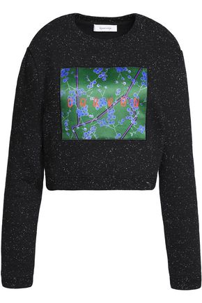 CARVEN Cropped printed cotton-blend sweater