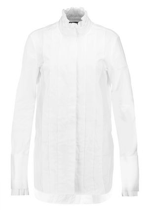 •ELLERY• Angelus pleated ruffle-trimmed cotton-poplin shirt