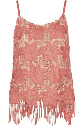 ALICE + OLIVIA Waverly fringed guipure lace top