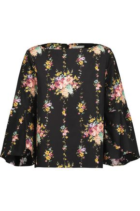 ALICE + OLIVIA Floral-print cotton-poplin top