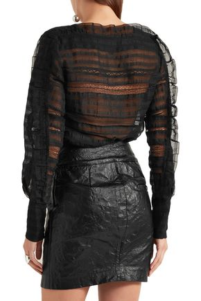 ISABEL MARANT Rivera ruffled lace-trimmed silk and linen-blend blouse